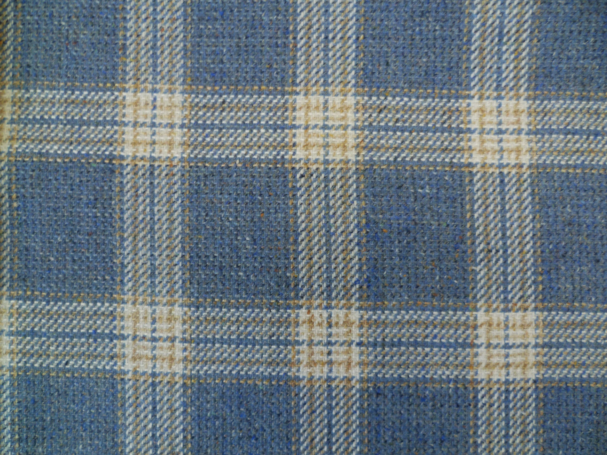 Steel Blue, Beige and Cream Overchecked Wool-Silk