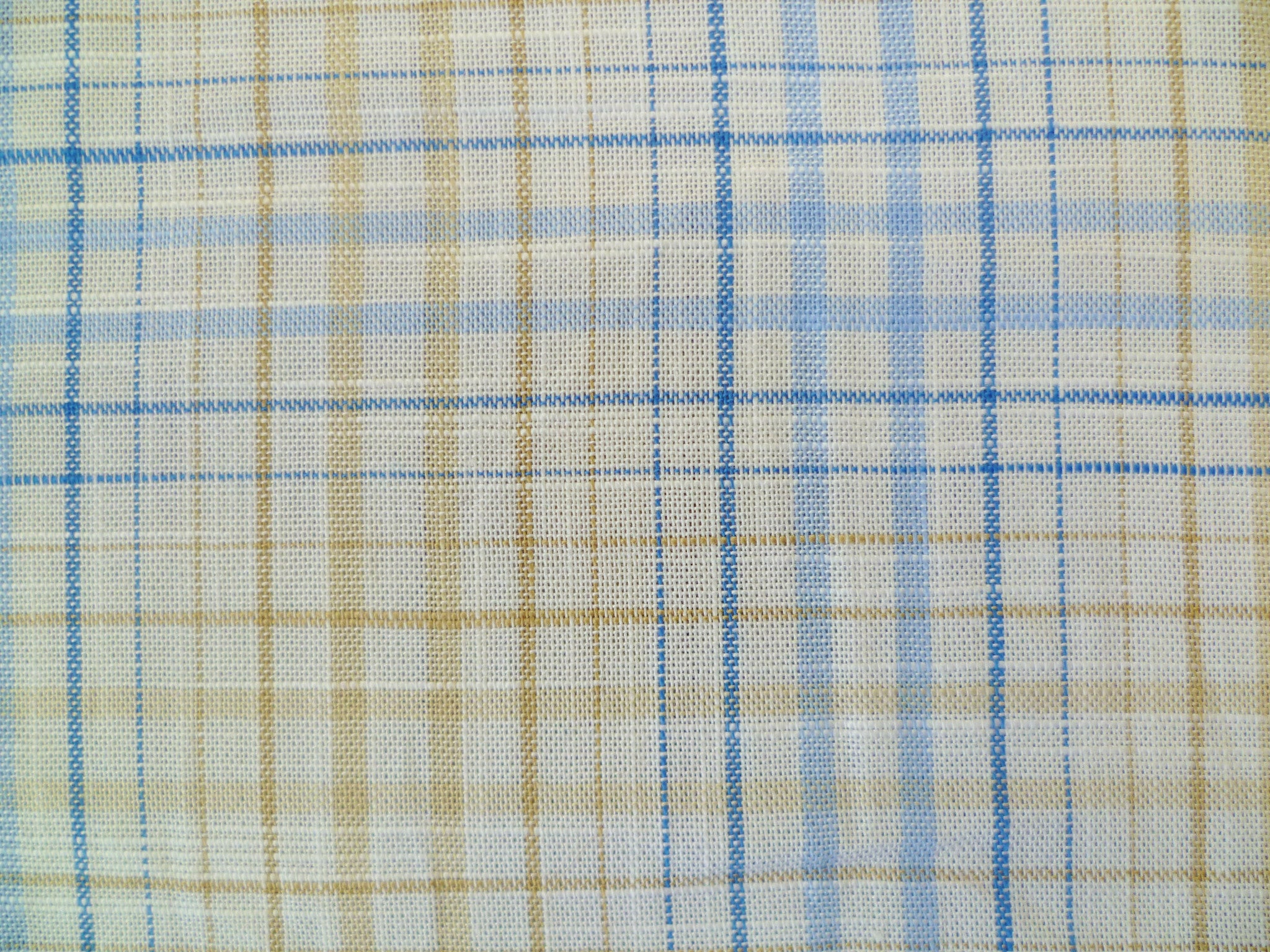 Ocean Blue, Light Blue, Cream and Ecru Checked Cotton-Linen