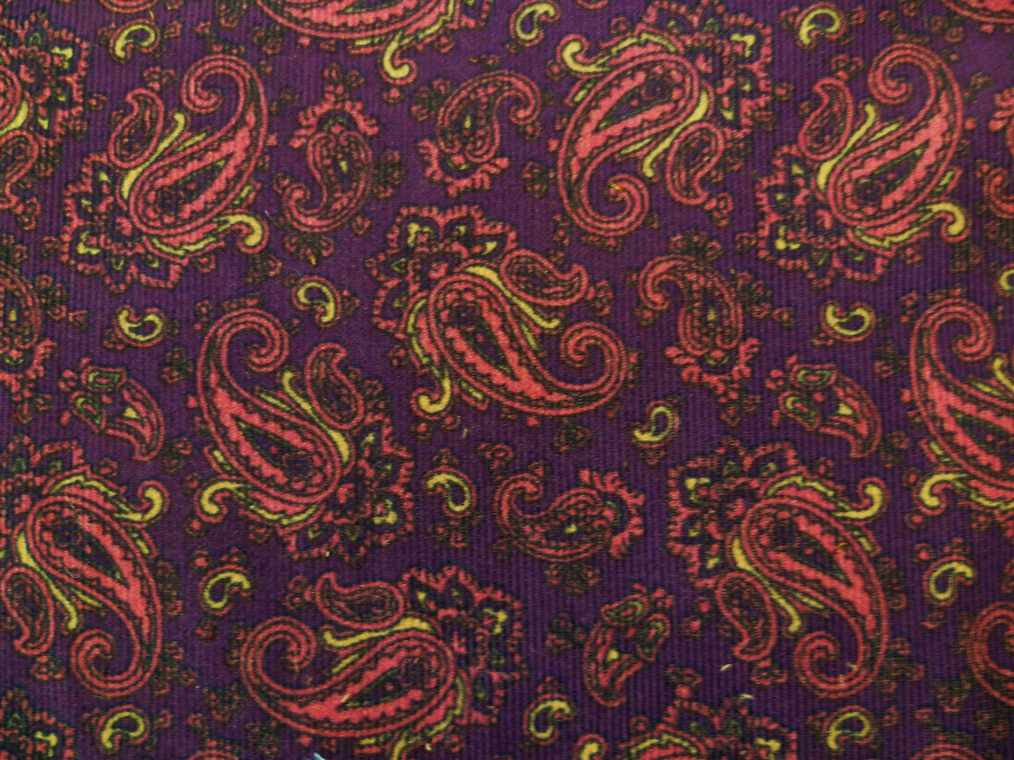 Purple, Beige, Pink and Black Paisley Patterned Cotton