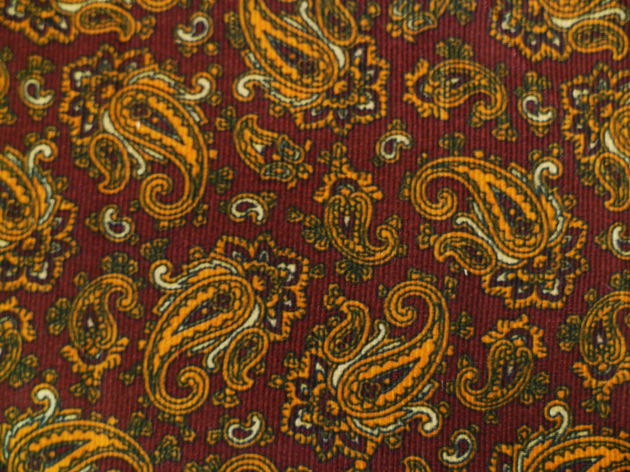 Red-Brown, Orange, Beige and Black Paisley Patterned Cotton