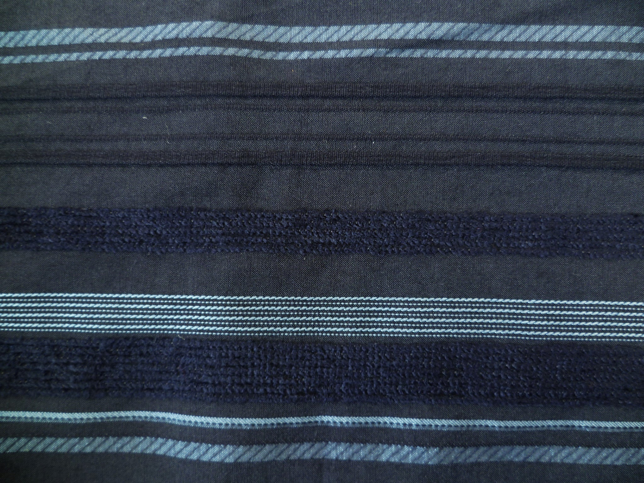 Navy, Metallic Light Blue and Textured Horizontal Striped Cotton-Linen