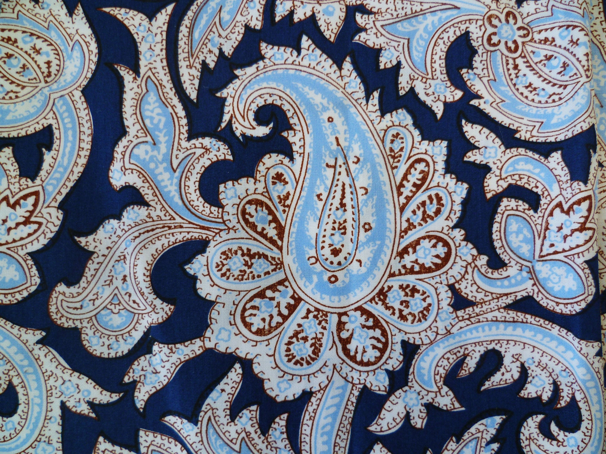 Navy, Light Blue, Red-Brown and White Paisley Patterned Cotton