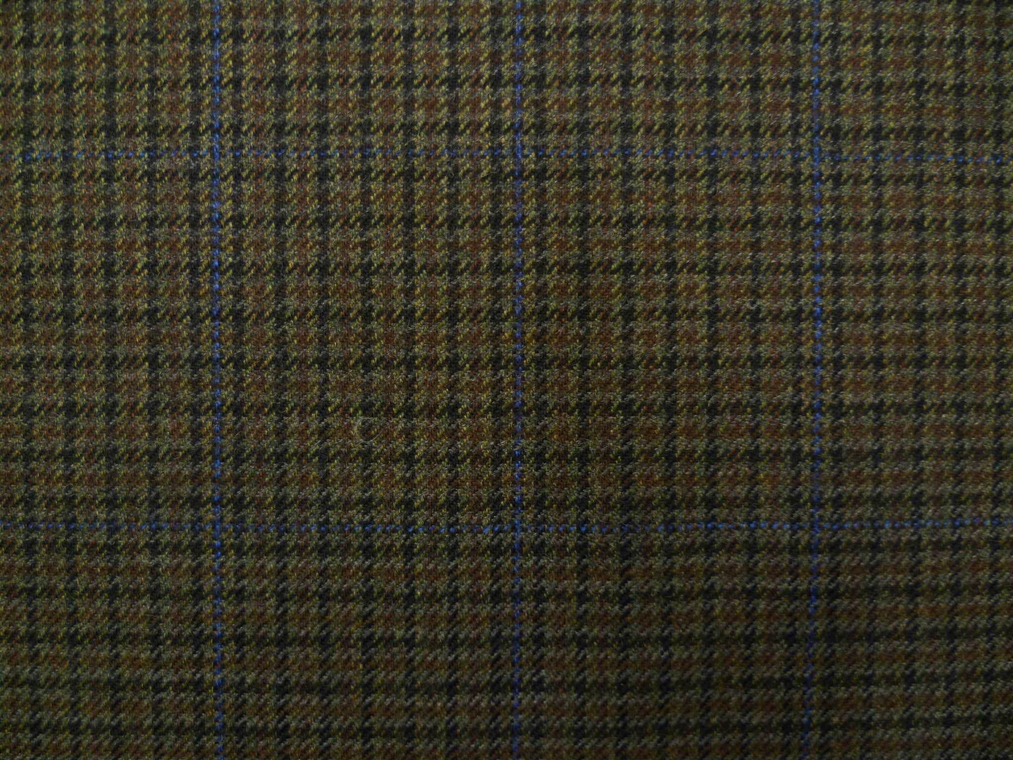Moss-Brown, Black, Blue Overchecked Wool