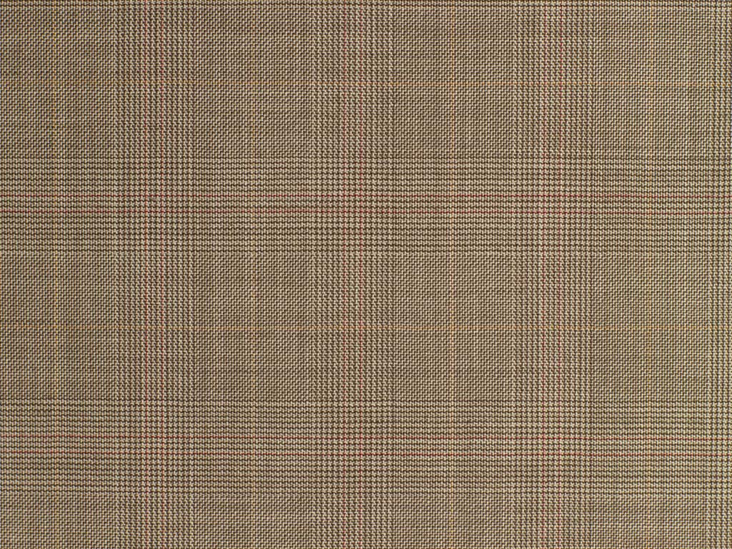 Soft Beige, Black, Tan, and Red Glen Checked Wool Worsted