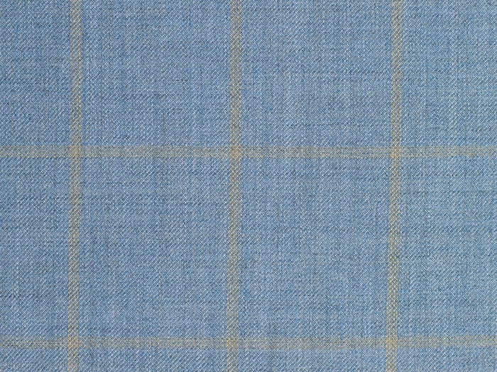 Soft Baby Blue and Tan Overchecked Cashmere-Silk