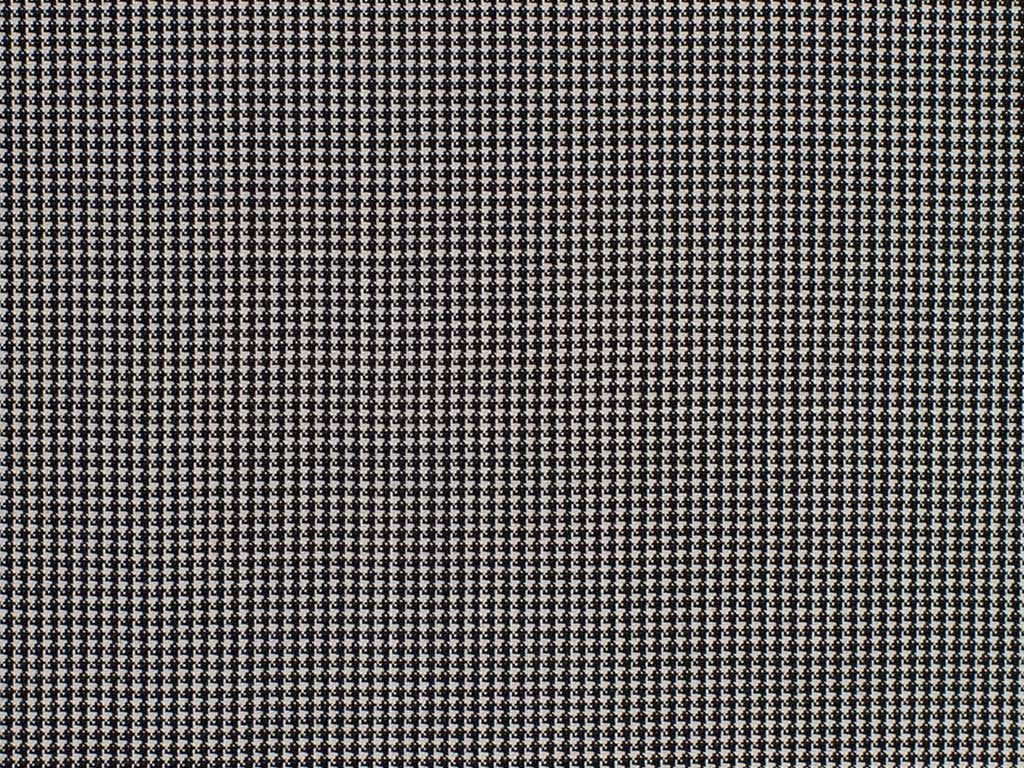 White and Black Miniature Houndstooth Checked Wool Worsted