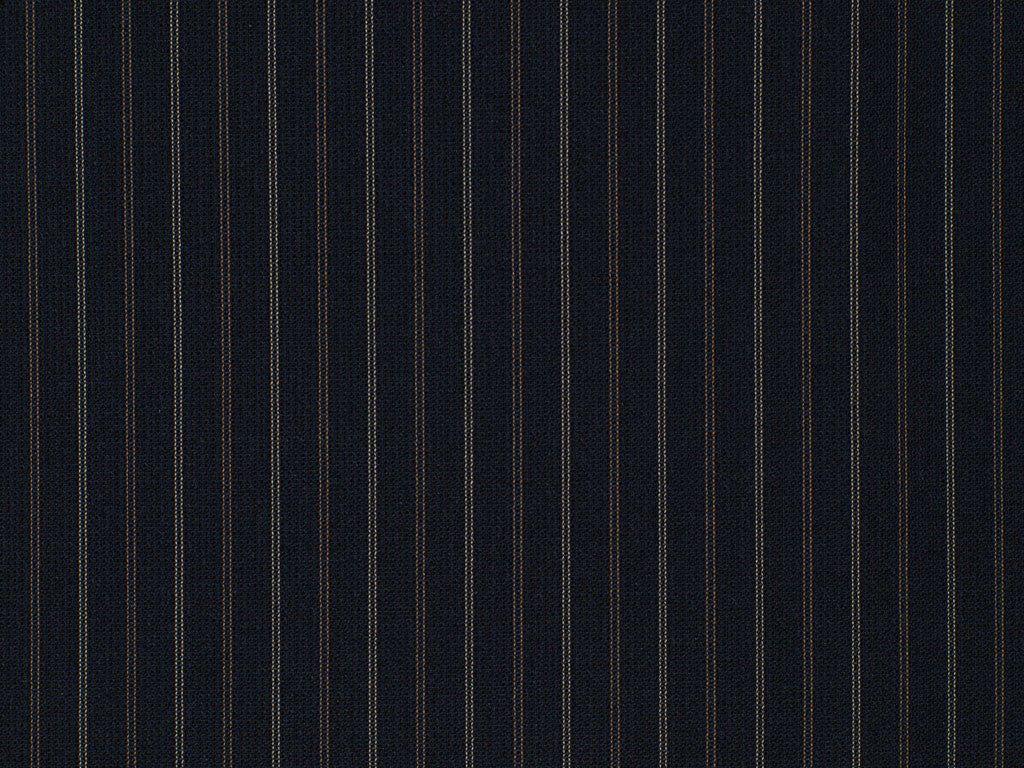 Navy Blue, Rust, and Beige Striped Wool Worsted