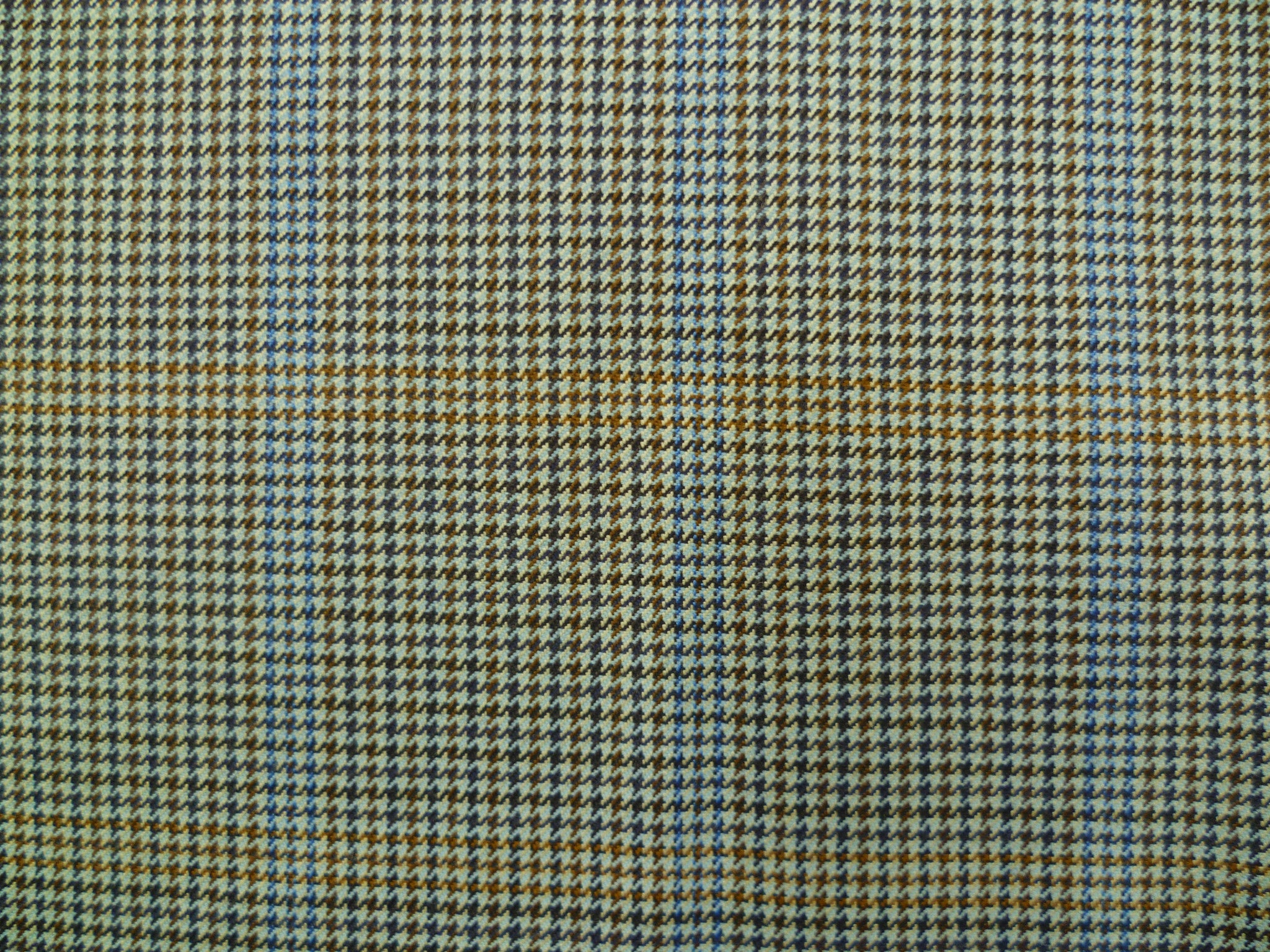 Mixed Blue, Beige, Brown Dogstooths and Blue Overchecked Wool