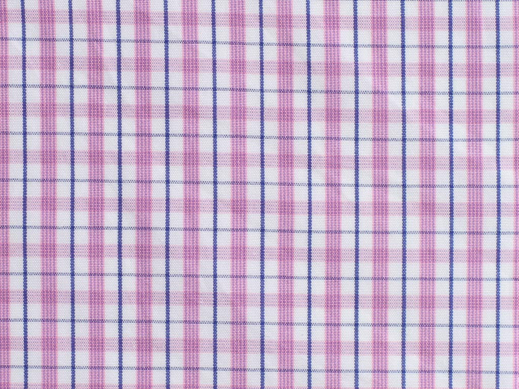 Pink, Purple, and White Gingham Checked and Navy Overchecked Cotton