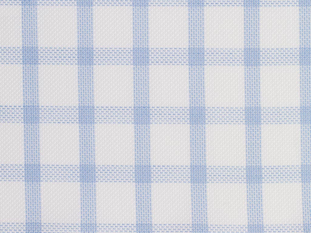 Powder Blue Pin Dotted and Satin White Gingham Checked Cotton