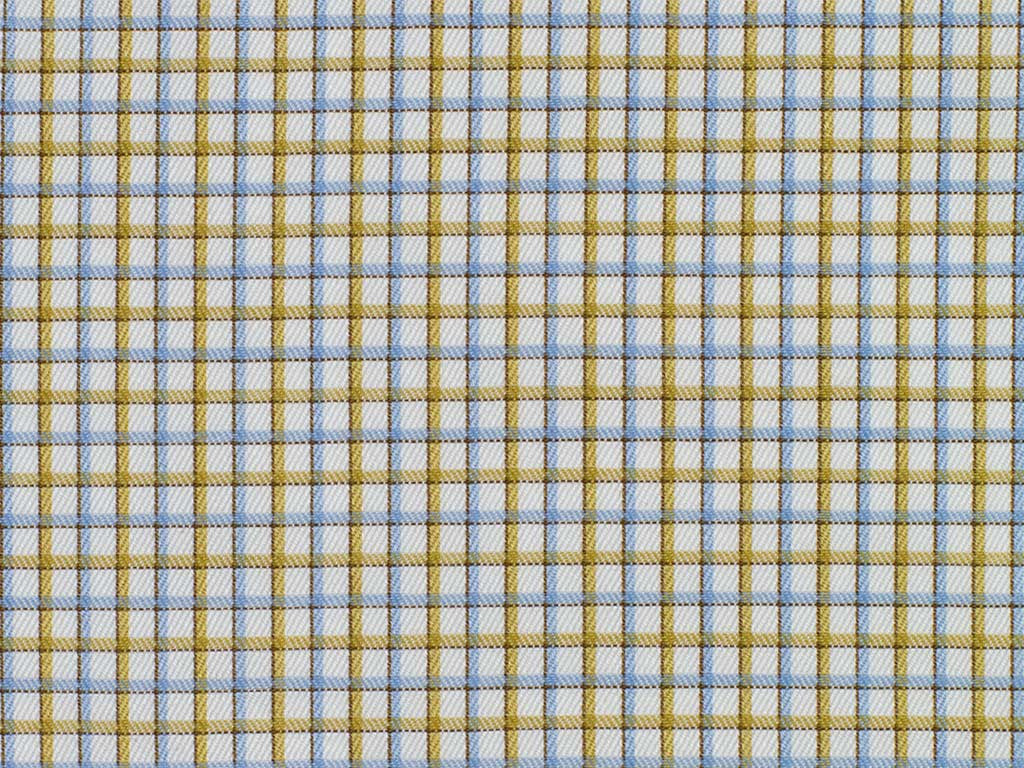 White, Amber, and Blue Neat Checked Cotton
