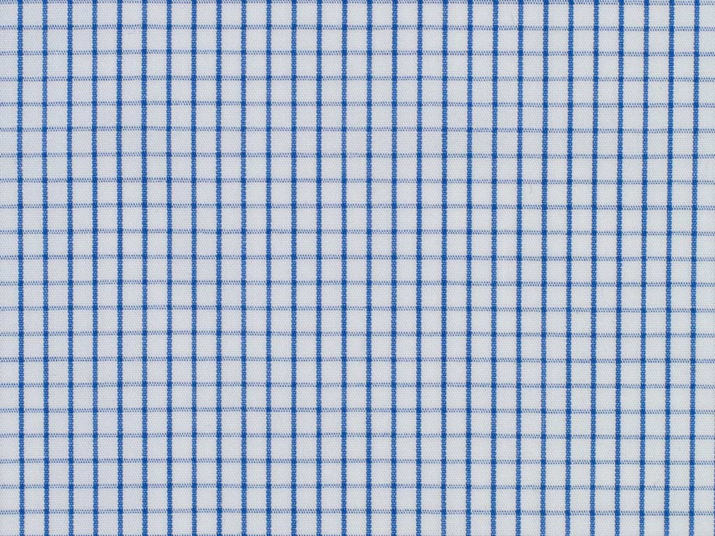 White and Navy Blue Neat Gingham Checked Cotton