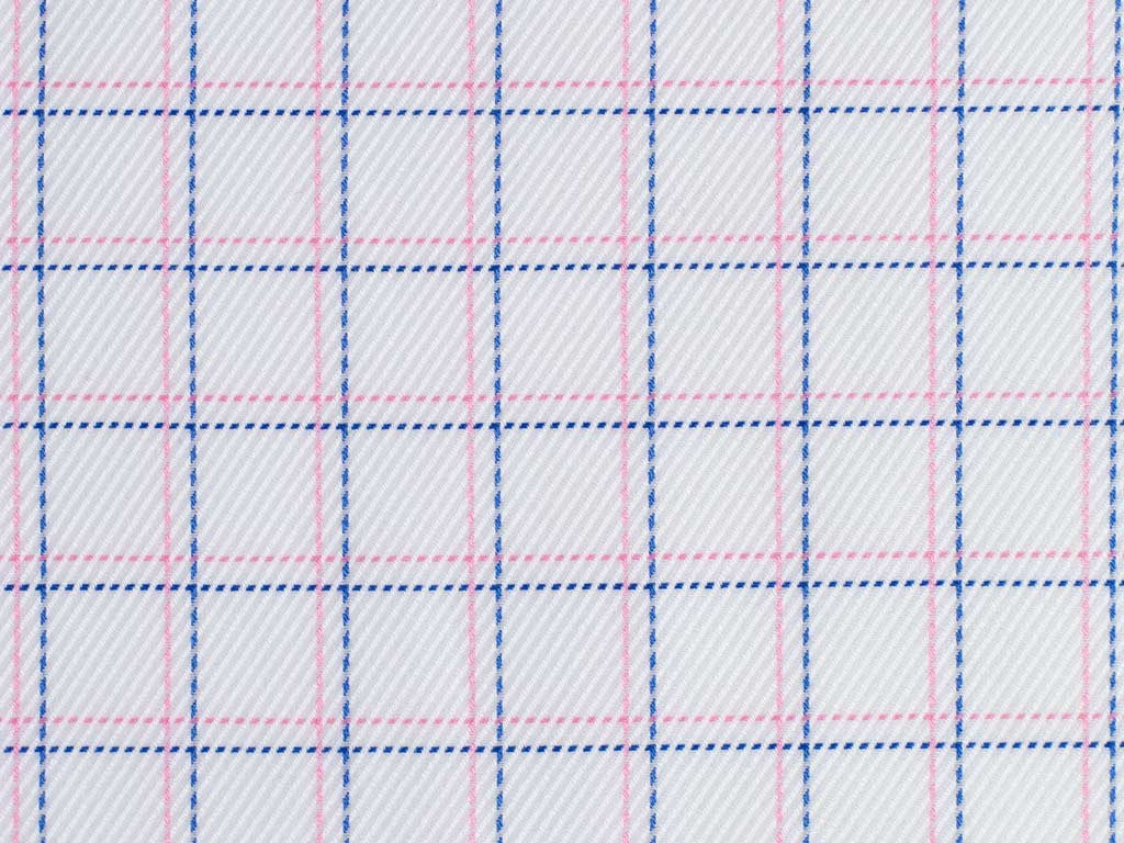 Twilled White, Blue, and Pink Overchecked Cotton