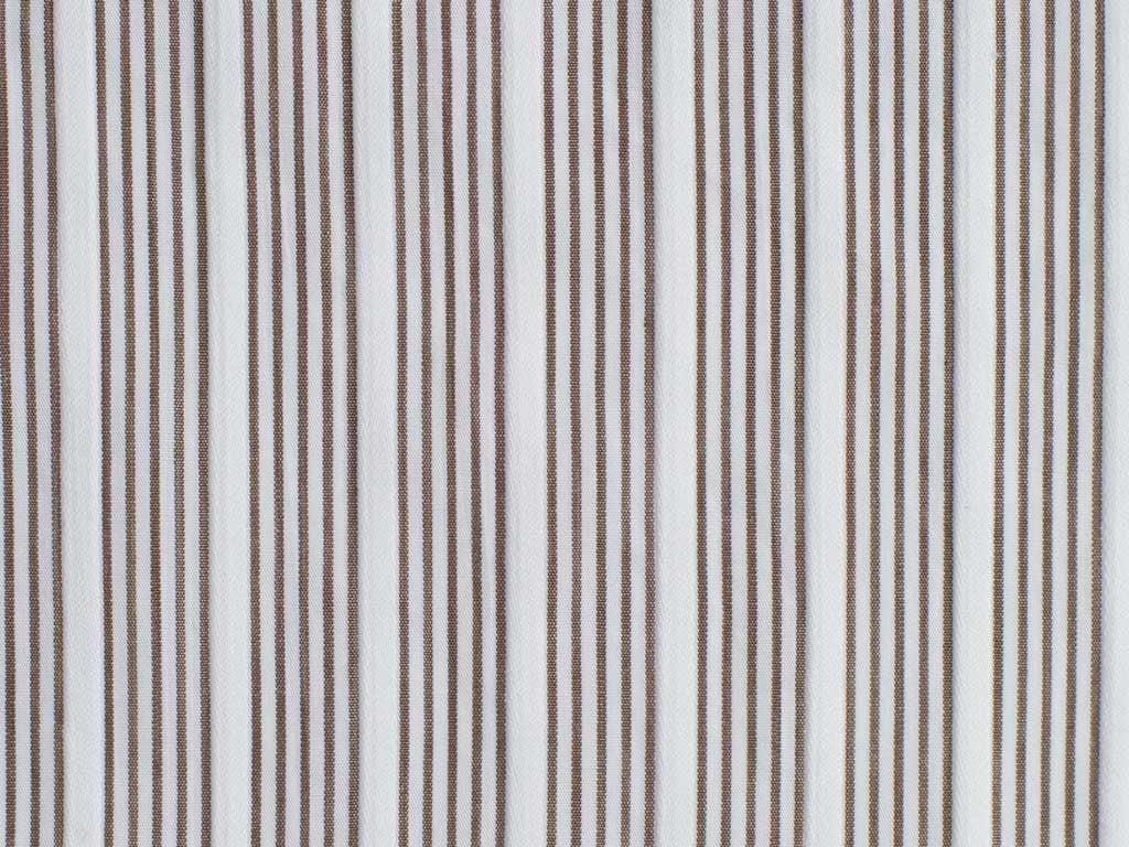 Raised Satin White and Taupe Pencil Striped Cotton