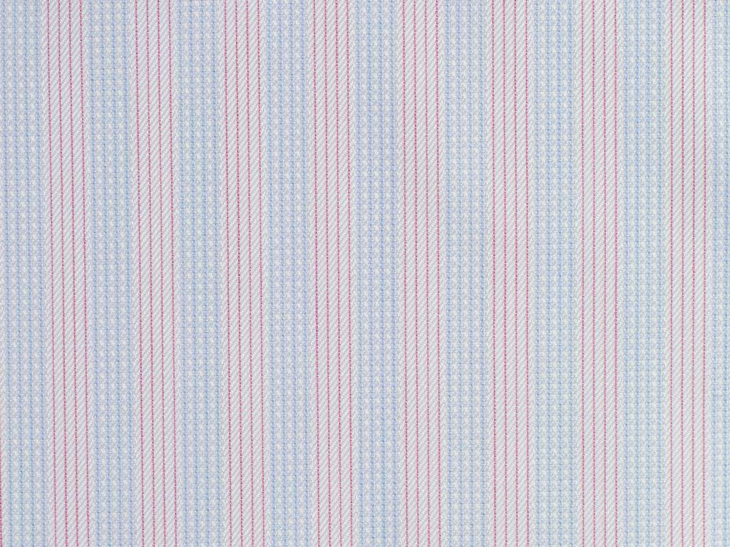 White, Blue, and Rose Striped Cotton. From Italy