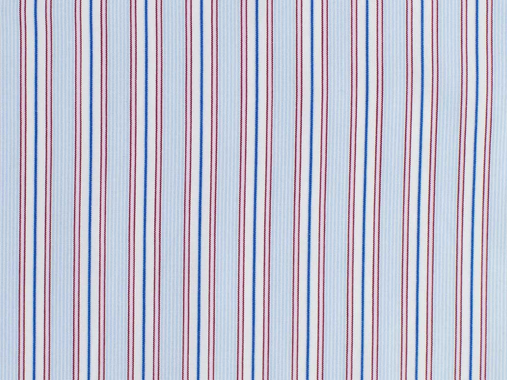 Navy, Red, White, and Powder Blue Striped Cotton
