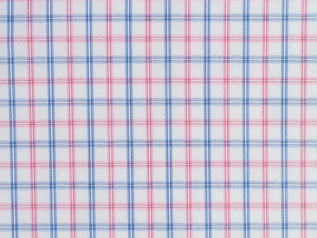 White, Pink, and Blue Gingham Checked Cotton