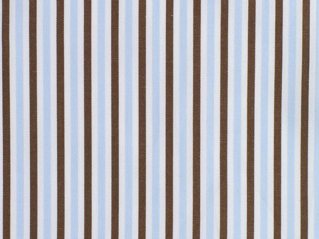 White, Brown, and Powder Blue Striped Cotton