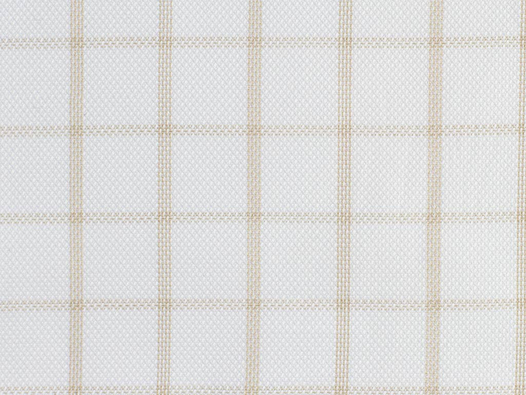 Woven White and Tan Overchecked Cotton