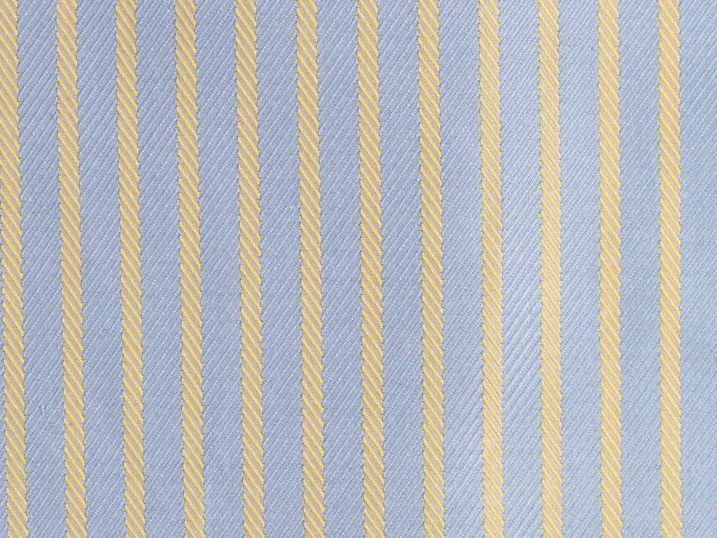 Twilled Powder Blue and Satin Yellow Striped Cotton