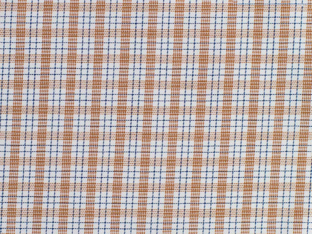 White, Navy and Rust Checked Cotton