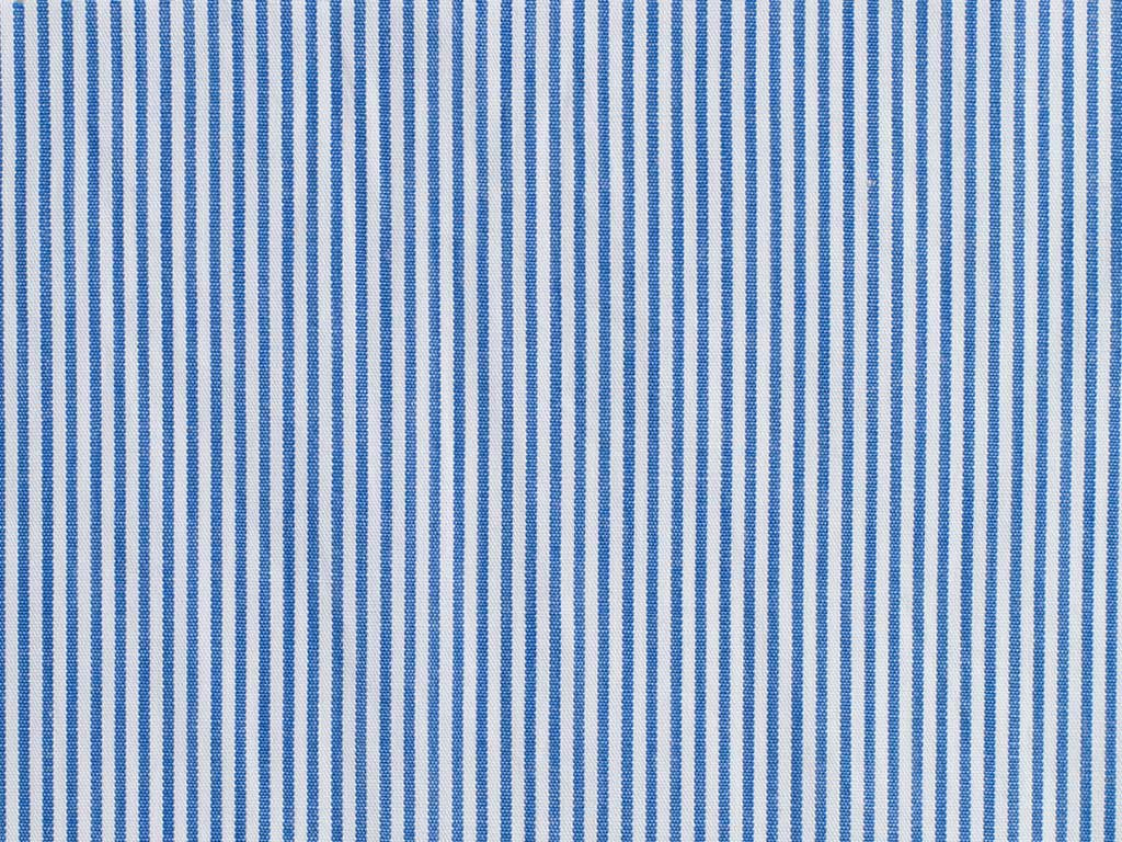 White and Blue Pencil Striped Cotton