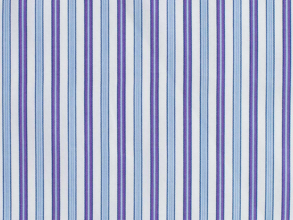 White, Purple, Powder Blue, and Navy Striped Cotton