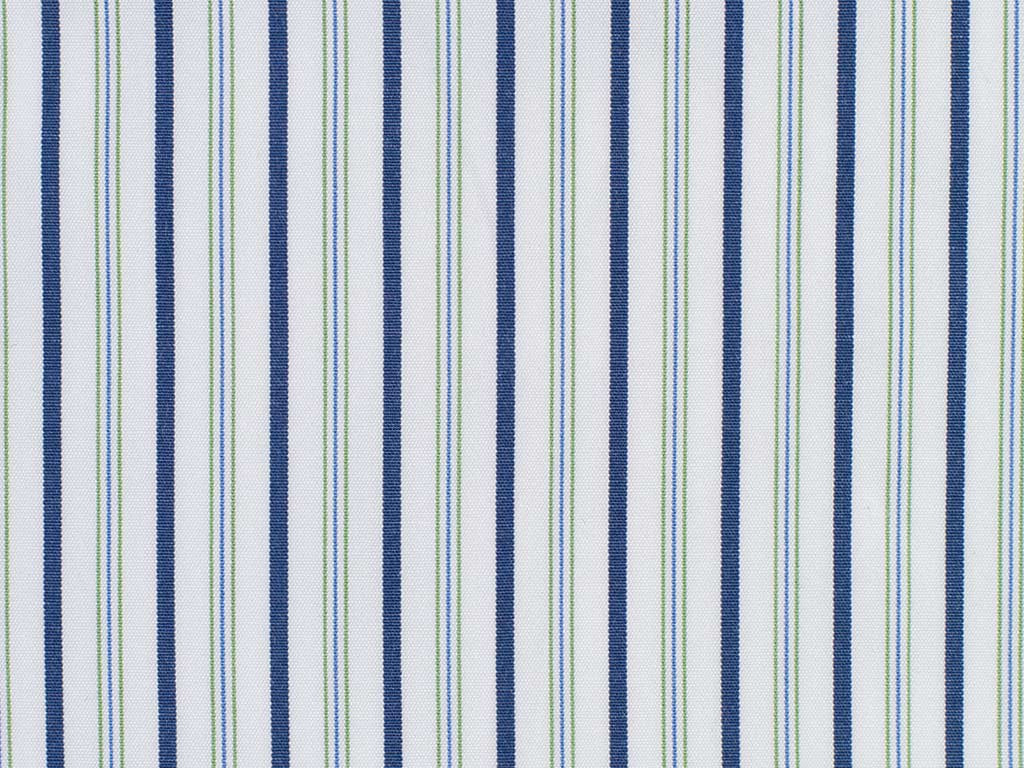 Navy, Indigo, Green, and White Striped Cotton