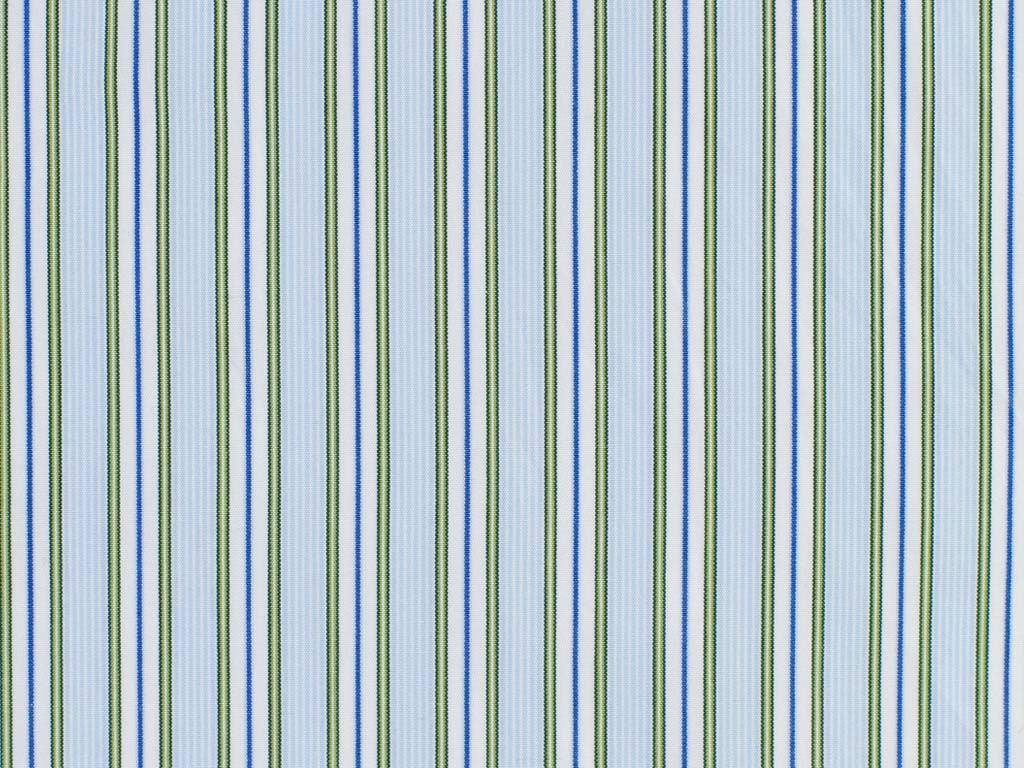 Powder Blue, Blue, Emerald Green, Pale Green, and White Striped Cotton