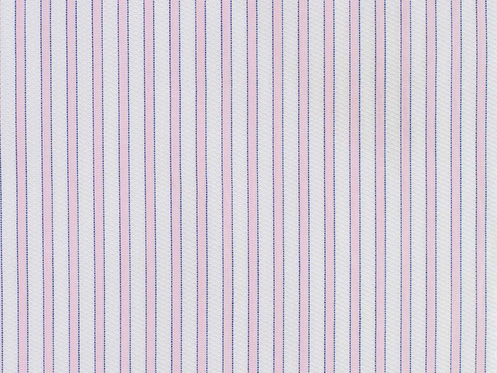 Pink, Navy, and Embossed Satin White Striped Cotton