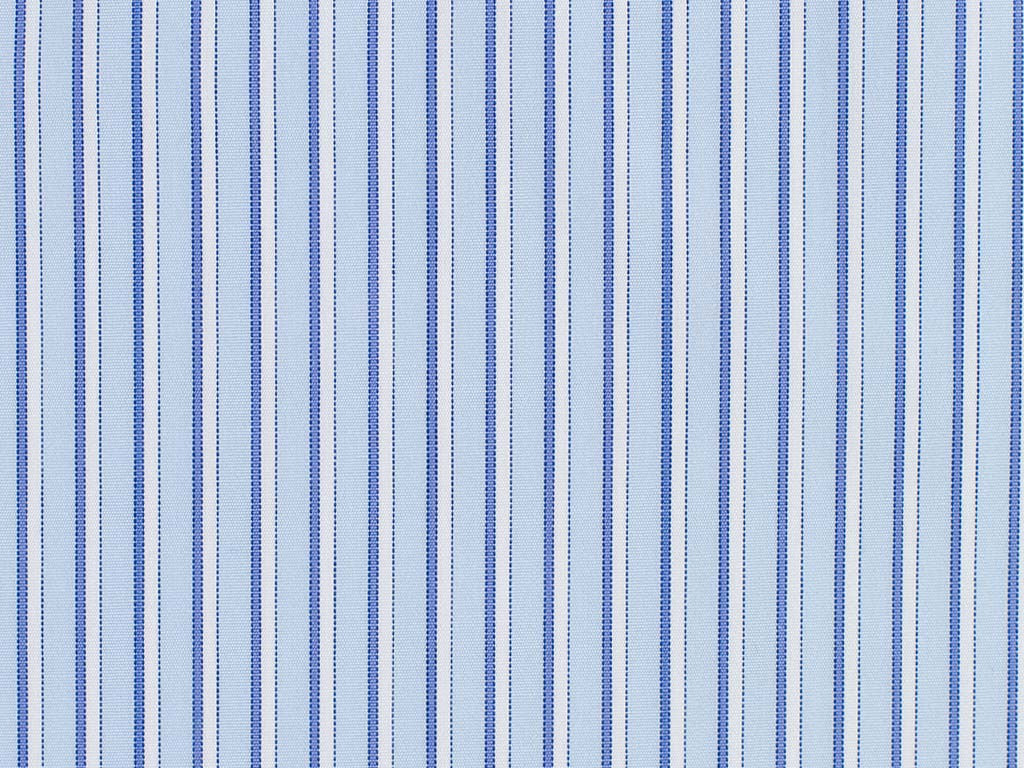 White and Light Blue Striped Cotton
