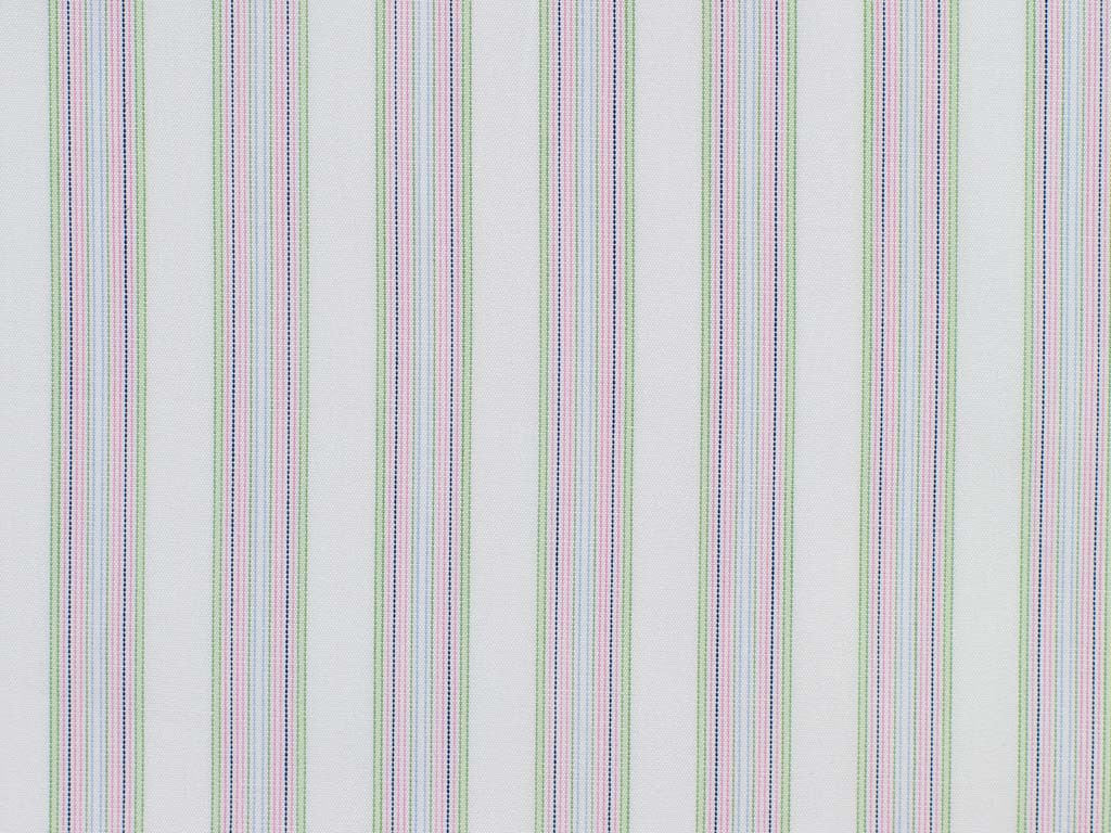 White, Mint Green, Pink, Navy, and Sky Blue Striped Cotton
