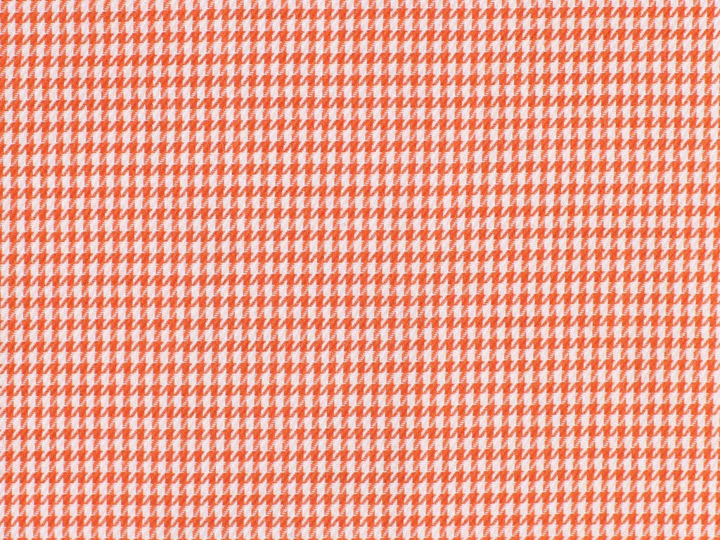 Orange Houndstooth Patterned Cotton