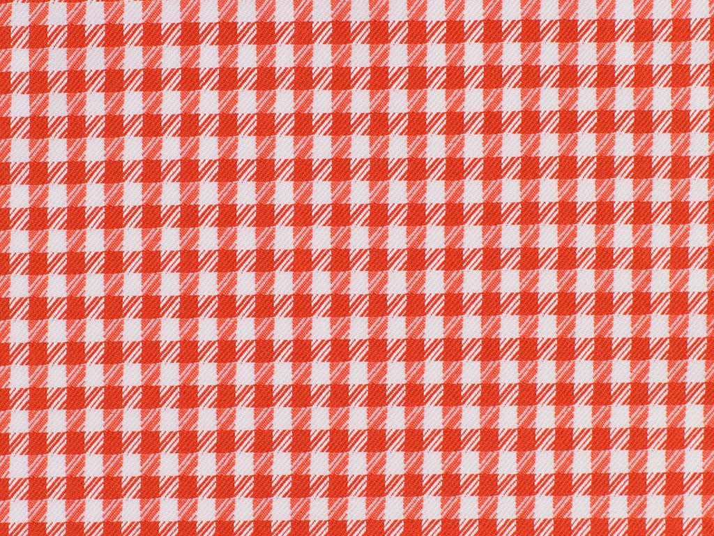 Red-Orange Houndstooth Patterned Cotton