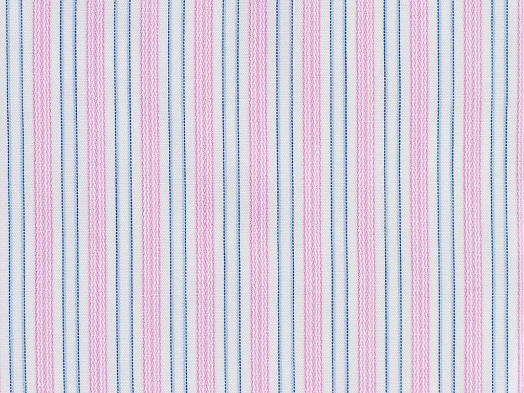 Pink Hairline, Navy blue, Powder Blue, and White Striped Cotton