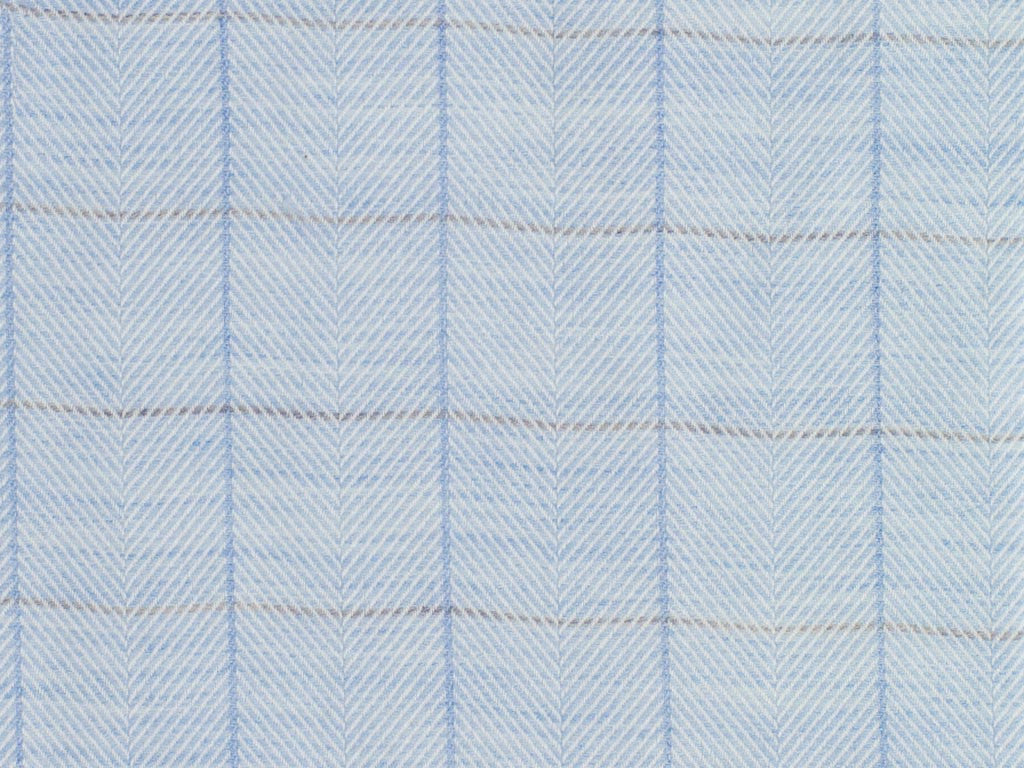 Steel Blue and Oatmeal Herringbone Patterned and Blue and Tan Overchecked Cotton