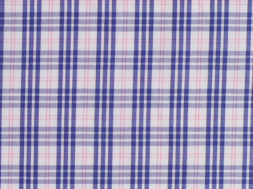 White, Pink and Blue Multiple Gingham Checked Cotton