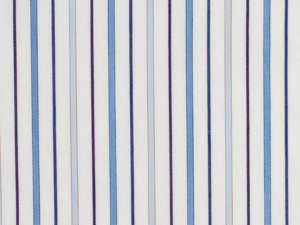 Off-White, Orange, Pink, Navy Blue, and Soft Blue Striped Cotton