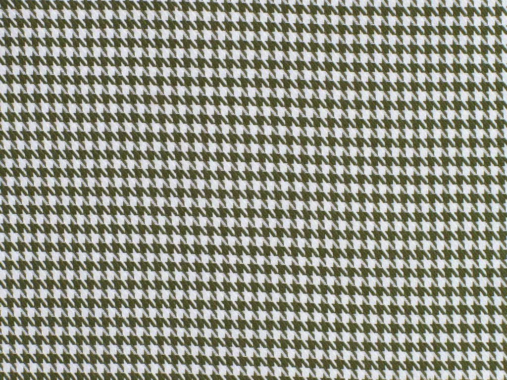 Olive and White Houndstooth Checked Cotton