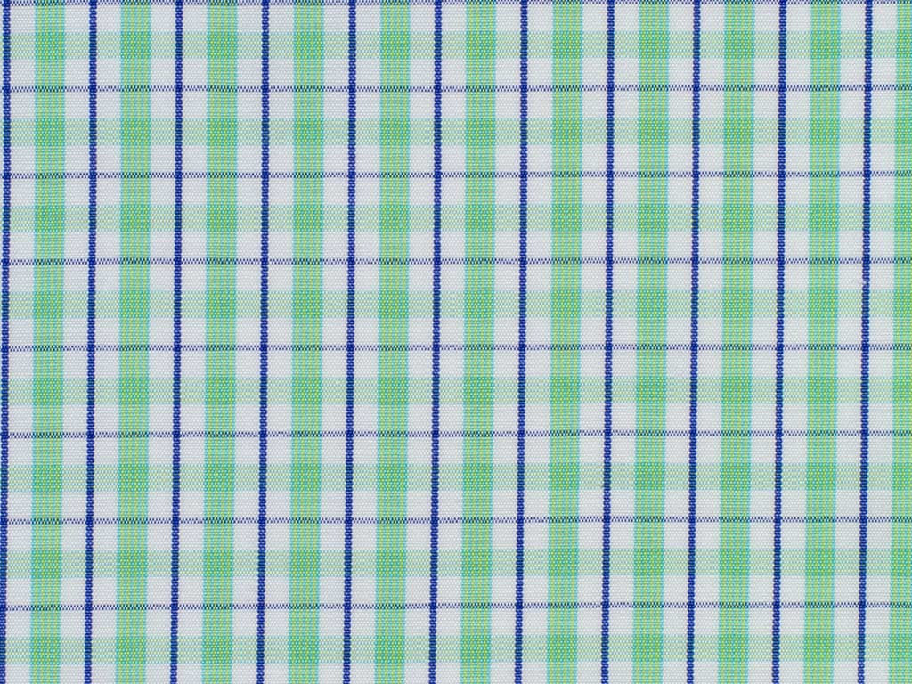 White, Blue, and Green Overchecked Cotton