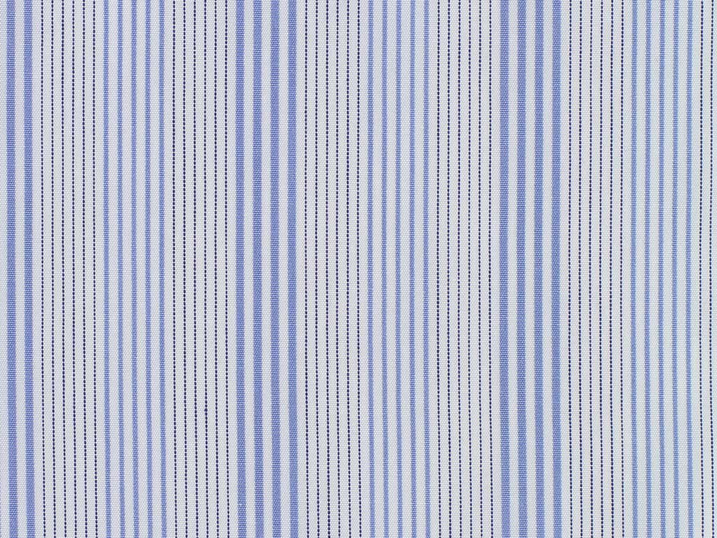White, Navy, and Soft Blue Cluster Striped Cotton