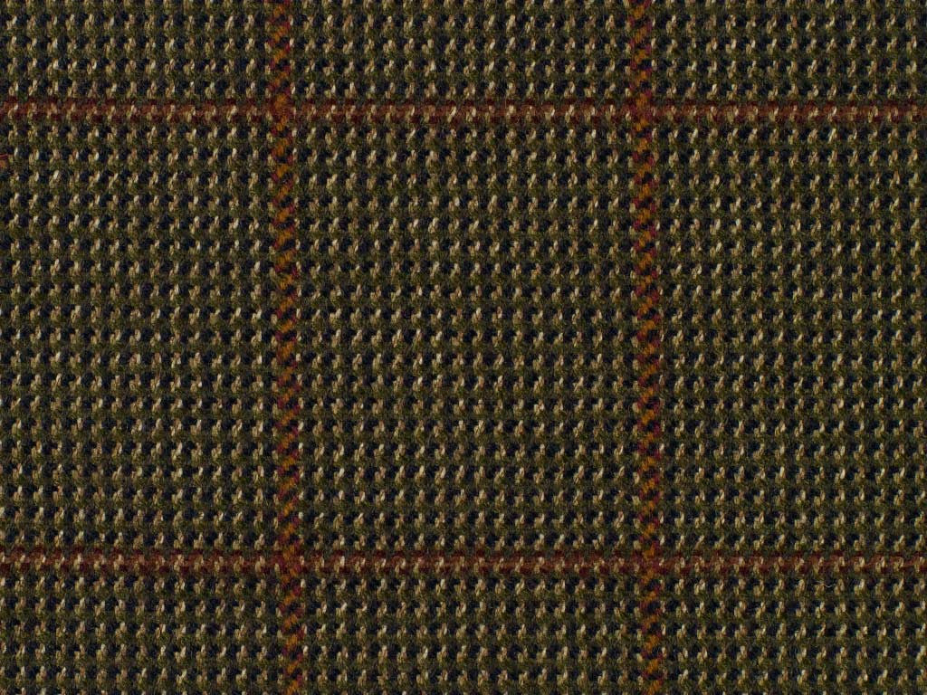 Taupe and Terra Cotta Overchecked Cotton Tweed