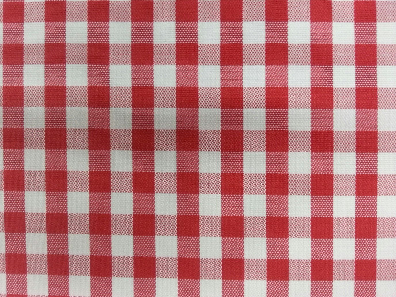 Red check on white background.