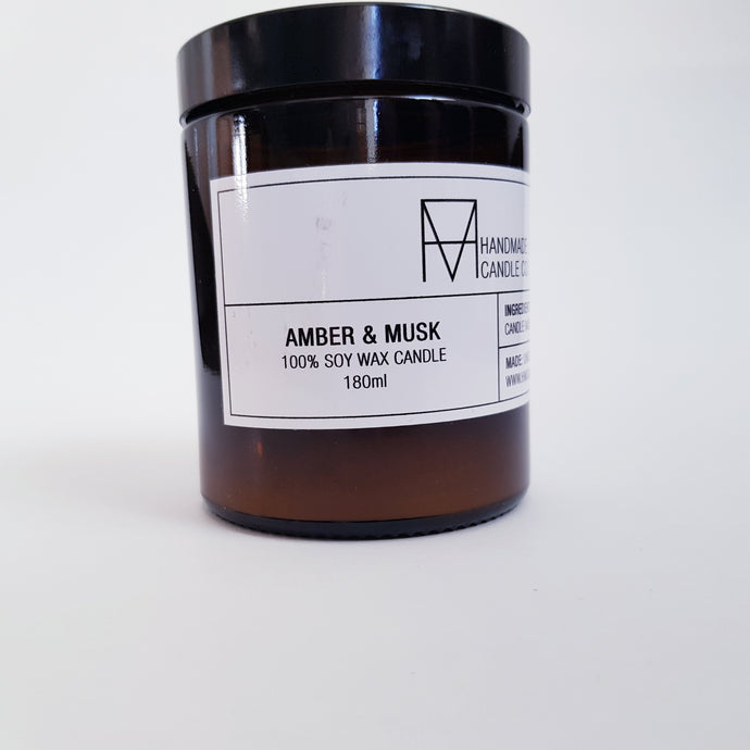 Handmade Candle Co - Amber and Musk Scented Candle