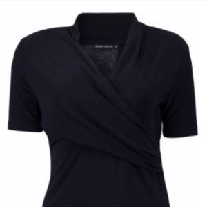 QU - navy draped top