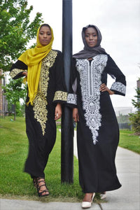 Black Kaftan with Handcrafted Designs with Stones