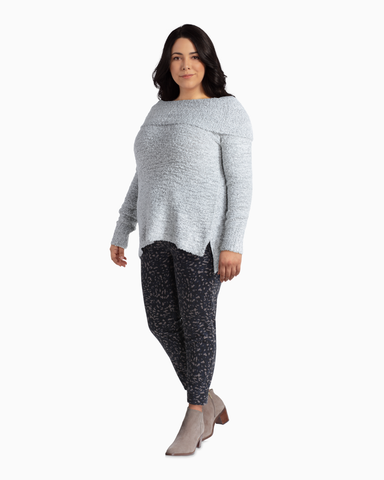 Marilyn Off The Shoulder Sweater | Light Grey | (Master)