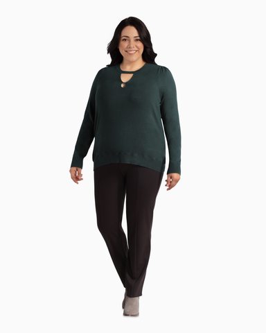 Christiana Keyhole Sweater | Forest Green | (Master)