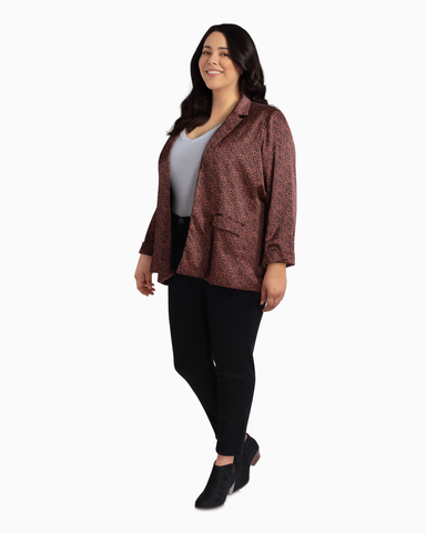 Harper Printed Boxy Blazer | Brown / Black | (Master)