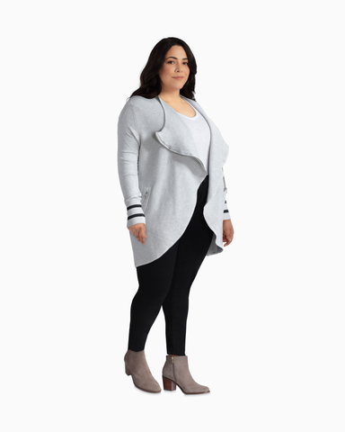 Daisy Asymmetrical Zip Cardigan | Light Grey / Black | (Master)
